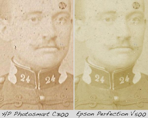 comparaison entre deux scans de photos