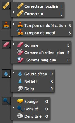 outils de retouche Photoshop Elements