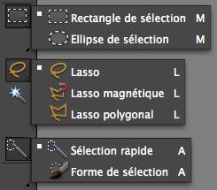 outils sélection Photoshop Eléments