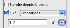 Option de l'outil rectangle de sélection de Gimp