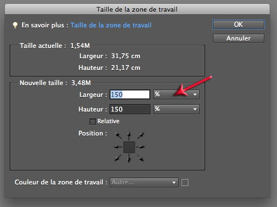 Taille de la zone de travail Photoshop Elements