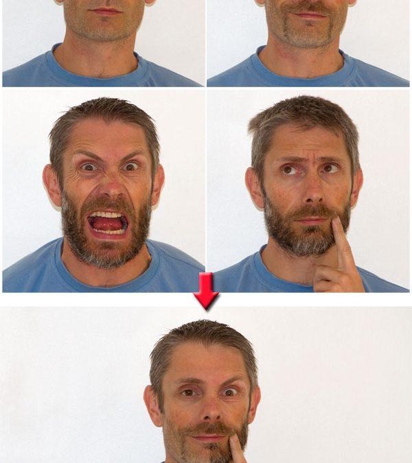 4 expressions différentes sur une même photo