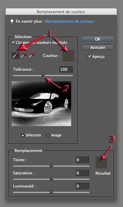 Fenêtre remplacement de couleur de Photoshop Elements