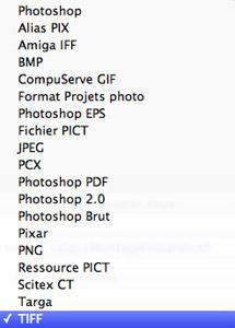 Liste des formats de fichier pouvant être enregistrés par Photoshop Elements