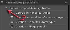 Fenêtre paramètres prédéfinis dans Lightroom