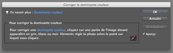 Balance des blancs Photoshop Elements