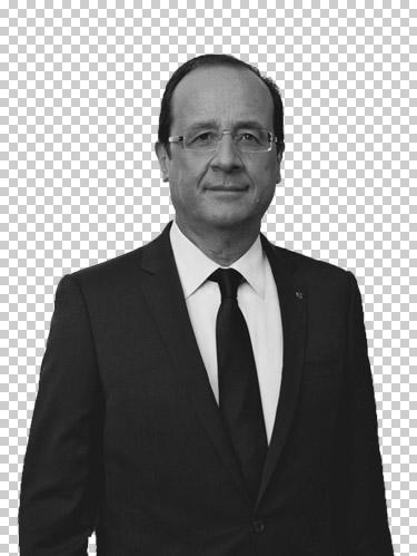 François Hollande en noir et blanc