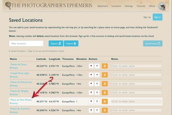Les emplacements sauvegardés dans The Photographer's Ephemeris