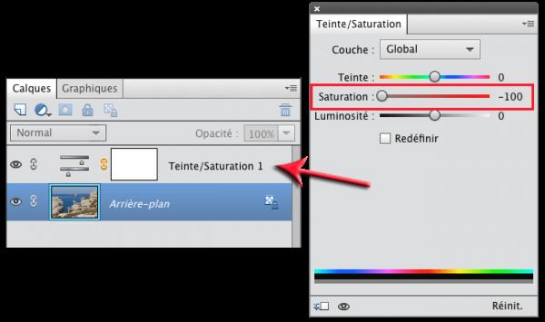 La désaturation s'applique via le calque de réglage Teinte/Saturation, ce qui permet à la photo de conserver ses couleurs
