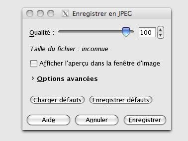 La fenêtre Enregistrer en JPEG de Gimp