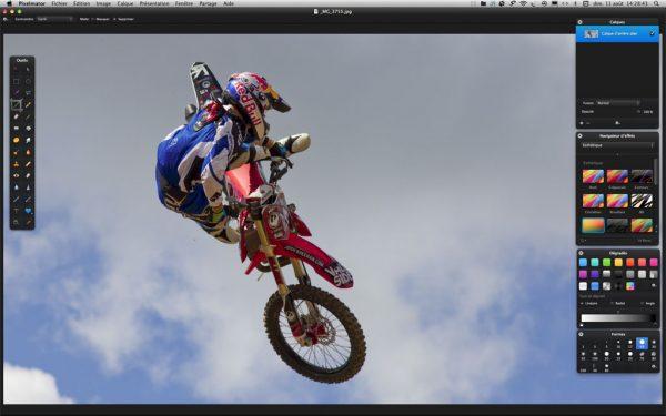 L'espace de travail du logiciel de retouche photo Pixelmator