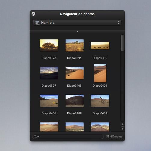 On peut voir et utiliser directement les images issues de iPhoto ou Aperture en affichant la fenêtre Navigateur de photos