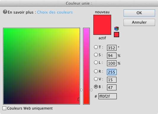 Dès lors que l'on double clique sur le calque vectoriel, la fenêtre du choix des couleurs apparaît