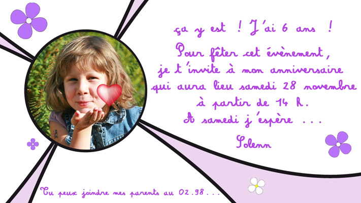 exemple carte invitation anniversaire