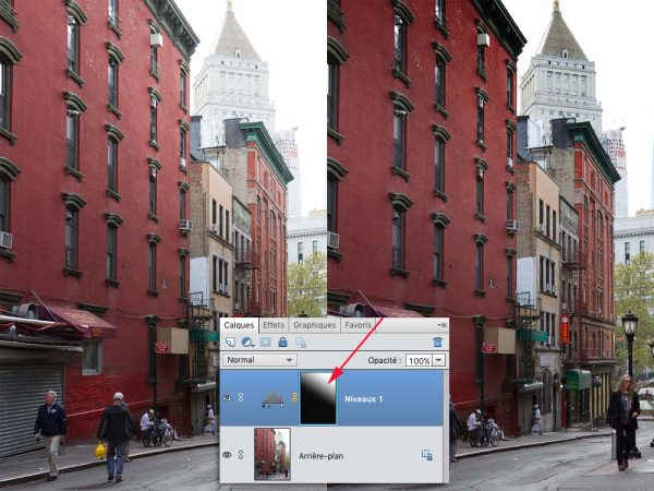 Avant (à gauche) et après (à droite) ou l'effet du calque de réglage Niveaux ne s'applique que sur la zone située en haut à droite de l'image
